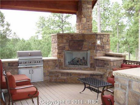 Covered Patio Corner Fireplace With Bbq Grill Patio Fireplace