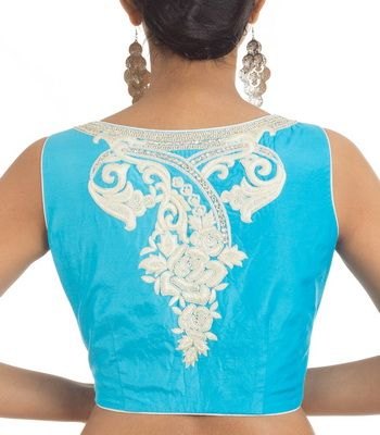 ffe5ea7a19d414 Sky Blue Crepe with White Embroidery Designer Blouse | sari special ...