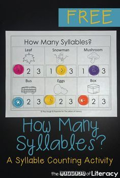 graphic relating to Syllable Games Printable identified as How Several Syllables? A Syllable Counting Printable Pack