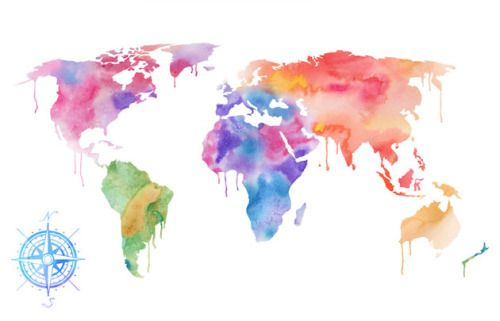 Watercolour Palettes World Map Wallpaper Water Color World Map