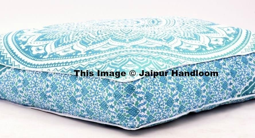 Indian Square Mandala Pillows Ombre Floor Cushion Covers Pouf