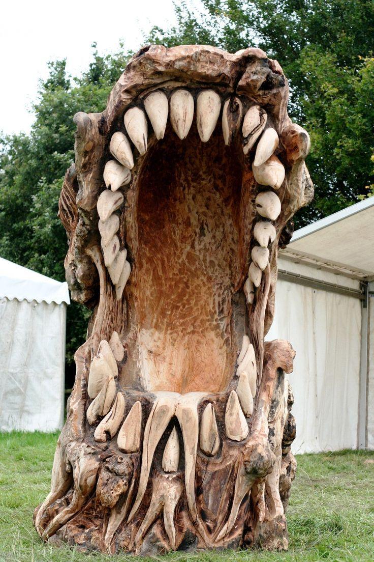 Dragon chair matt crabb chainsaw artist woodcarving