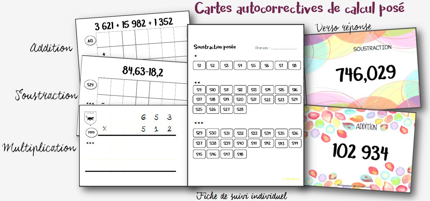 Cartes autocorrectives de calcul posé pour un entrainement ...