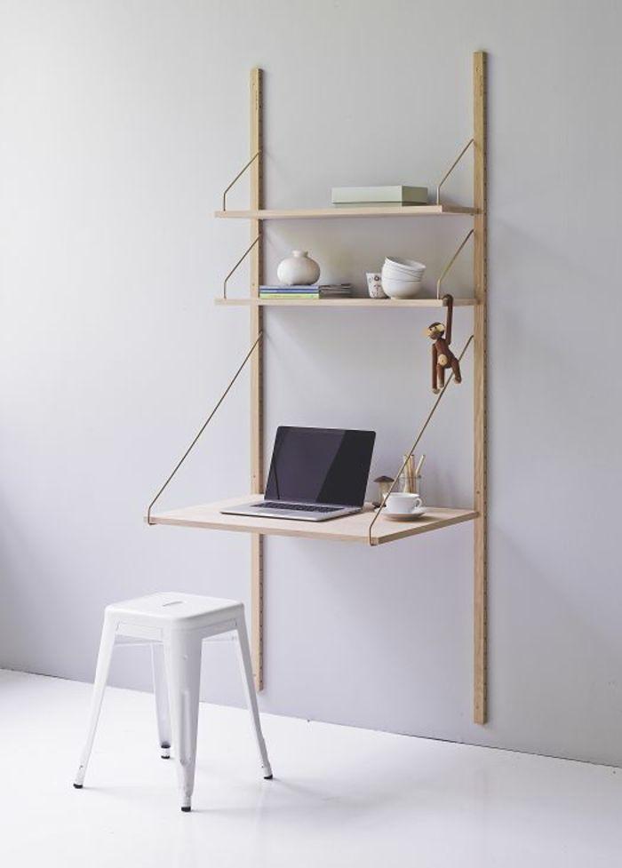 Klappschreibtisch im kleinen Home Office - 33 Fotobeispiele - buro mobel praktisch organisieren platz sparen