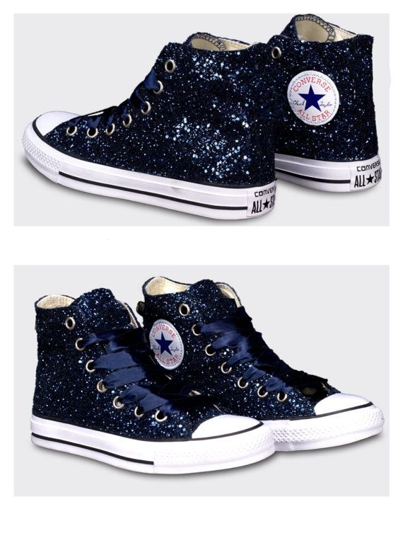 Womens Converse all star sparkly midnight navy blue black glitter sneakers  HIGH or WEDGE HEELS shoes Swarovski crystals bling wedding bride 4b4784d567ad