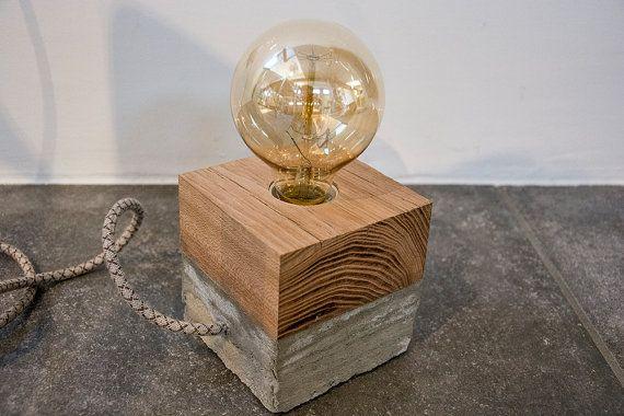 Table lamp concrete wood pinterest einfacher schreibtisch