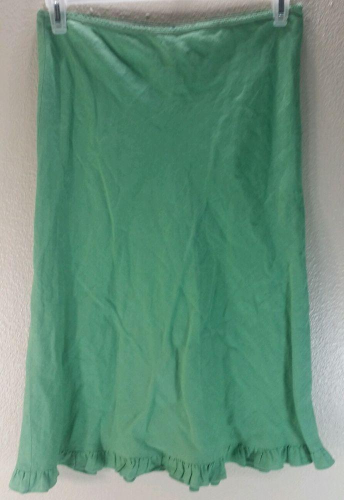 Harold\u0027s Solid Green Straight Linen Skirt Fringe Border Hem Women\u0027s - solid green border