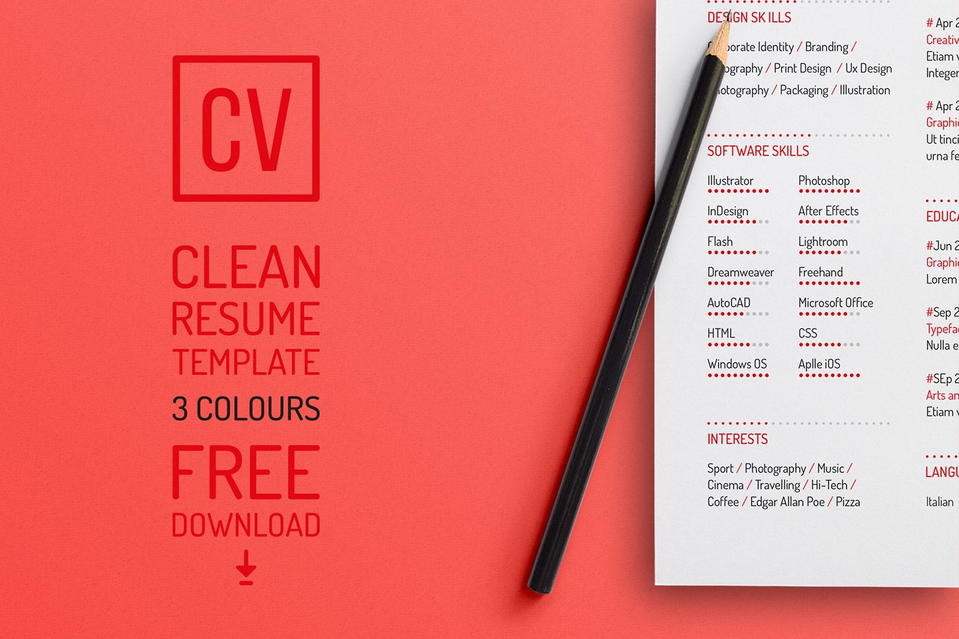 FREE Resume Template on Behance => More at designresources