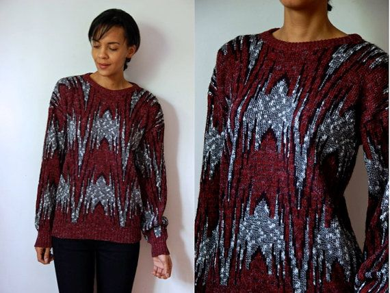 Vtg Abstract Red Black White Printed Grandpa Knit by LuluTresors, $27.99