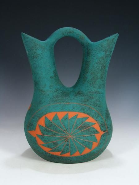 Acoma Pueblo Pottery Turquoise Wedding Vase Native Pottery