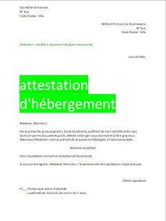 attestation d'hébergement format word   Attestation, Word doc, Cours génie civil