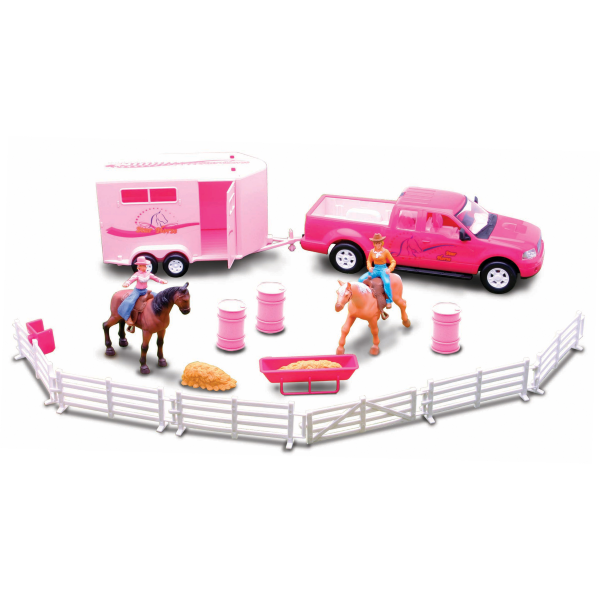 Murdoch S New Ray Toys Valley Ranch Pink Pickup Truck And Trailer Set Rodeo Toys Toy Horse Toys