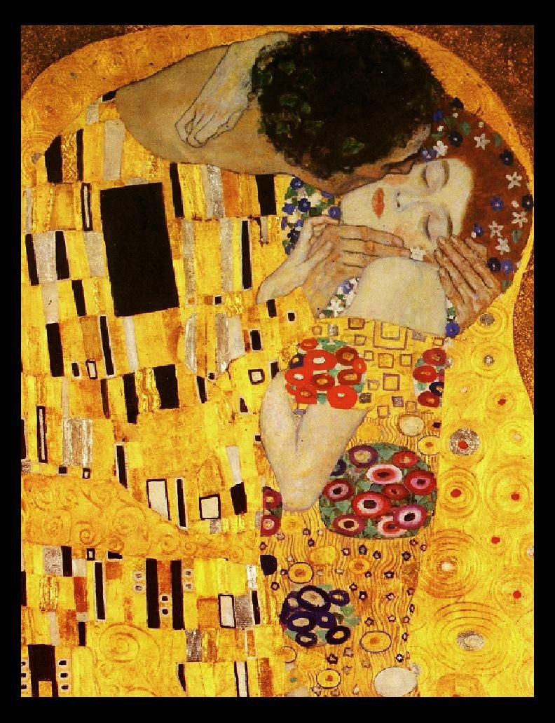 One of my favorite paintings by Gustav Klimt. I think it's actually an oil painting with real gold leaf.