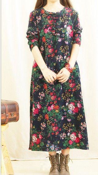 Mori Girl Vintage Ethnic Loose Casual Linen Maxi Long Dress Women Floral Printing Tunique Hippie Boho Gauze Dress Clothing Mori
