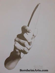 """""""Hand with Whetstone"""", pencil/graphite drawing 2007 after Charles Bargue"""