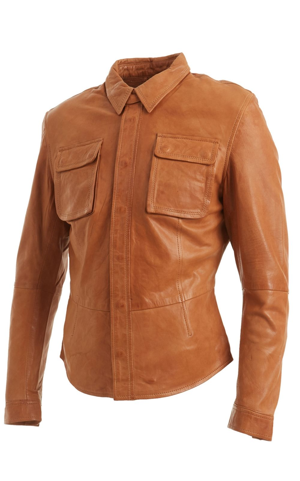 Mens tan leather shirt jacket faith leather finish him for Leather jacket and shirt