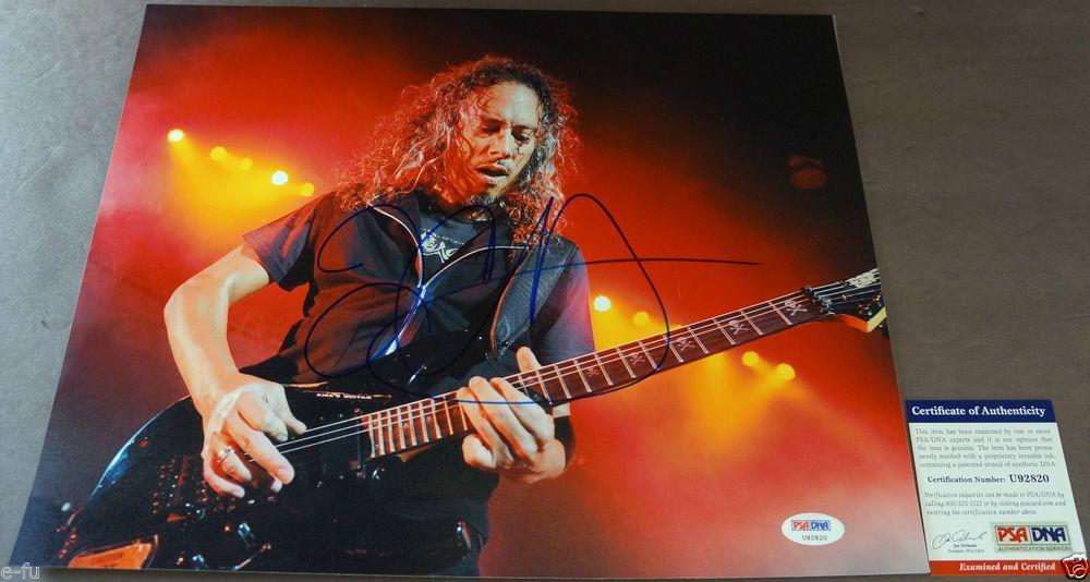 KIRK HAMMETT Signed 11x14 Metallica Photo PSA/DNA Certified Bold Blue Autograph