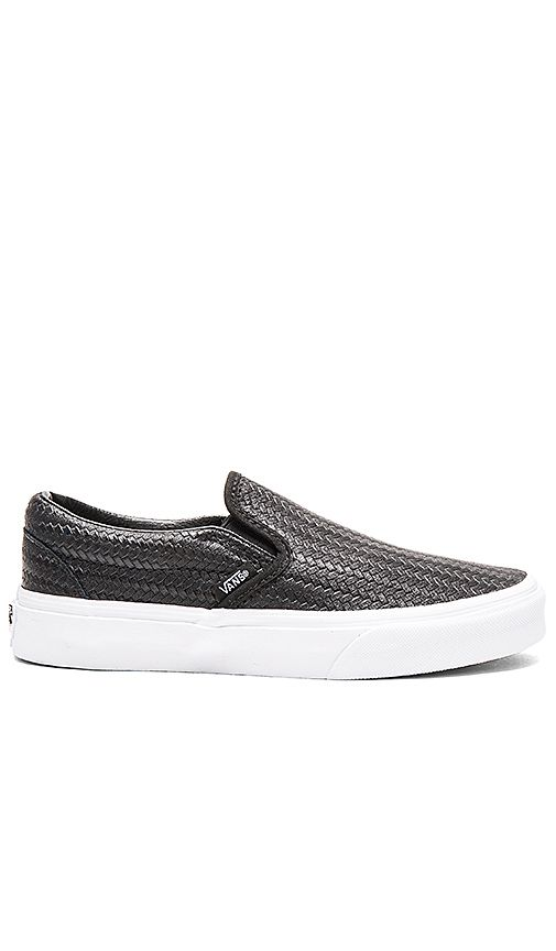 6dd6a7ec5e Shop for Vans Embossed Weave Classic Slip On in Black   True White at  REVOLVE. Free 2-3 day shipping and returns