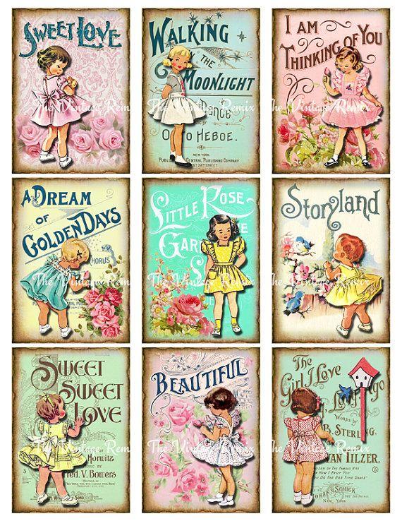 Photo of Shabby Chic, Vintage Floral Mädchen, druckbare digitale Collage, ClipArt, 2.5 x 3.5 Zoll ATC Bilder. Für Scrapbooking, Stichwörter, Etiketten, Karten
