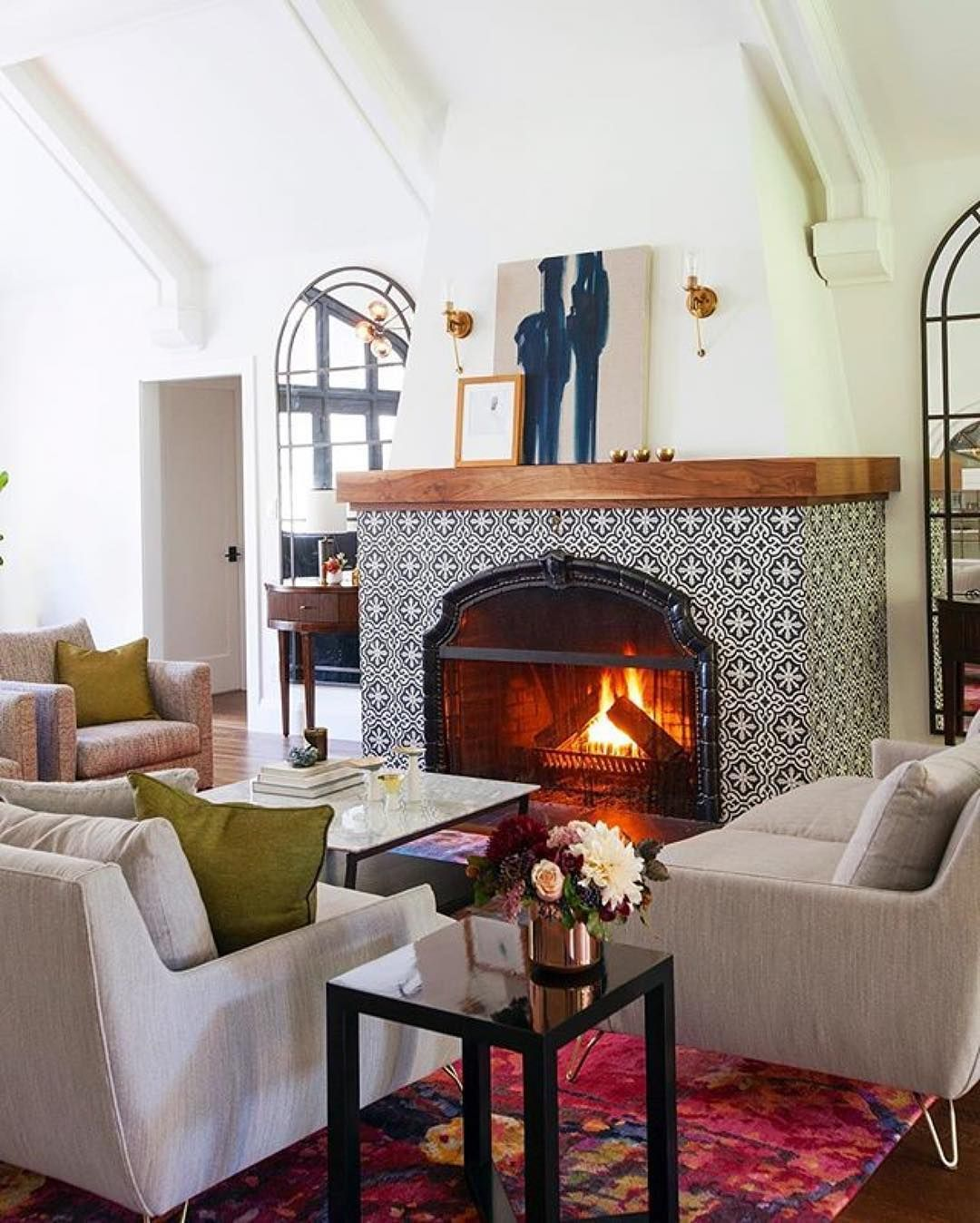 Cement Tile Shop Encaustic Cement Tile Instagram Feed Home Fireplace Cozy Fireplace Home