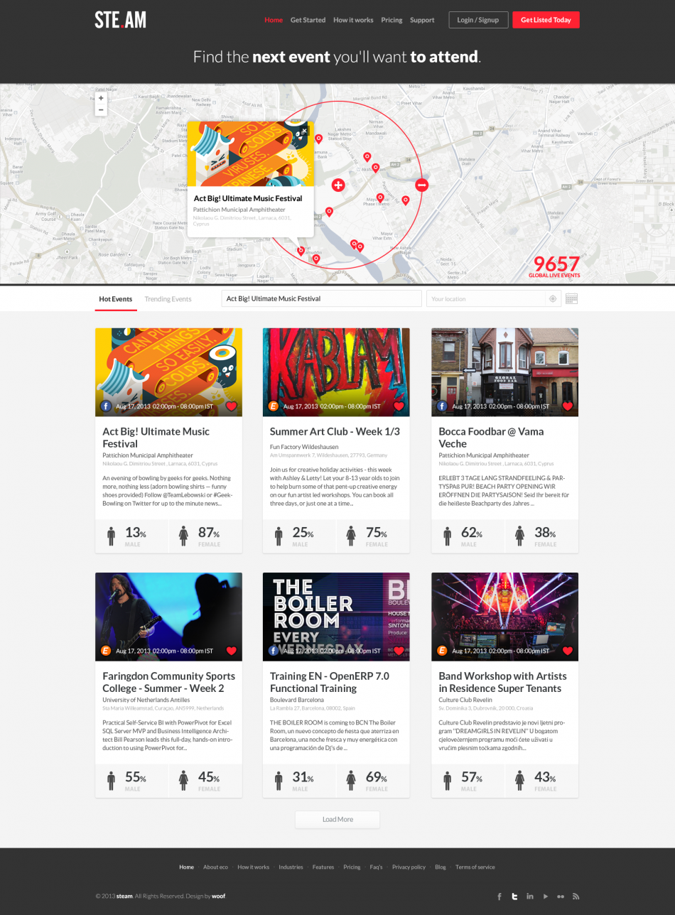 Events listing website design ui ux pinterest for Architecture site web