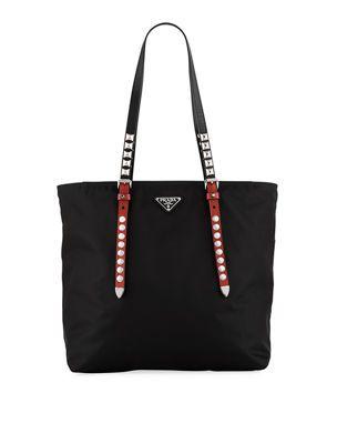 61eb673e4bfb V3XTW Prada Prada Black Nylon Shopper with Studding   Bags in 2019 ...