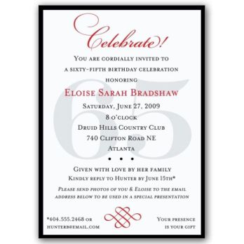 Classic 65th Birthday Celebrate Party Invitations
