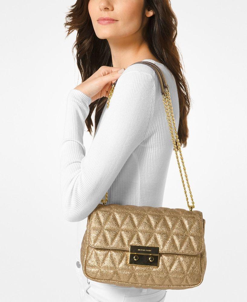 c96813f0269b Michael Kors Sloan Metallic Quilted Leather Shoulder Bag Pale Gold NWT # MichaelKors #ShoulderBag