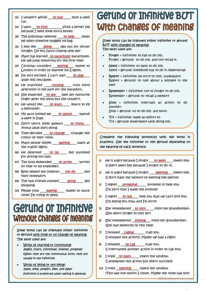 Verbs Followed By Gerund Or Infinitive Writers Notebook