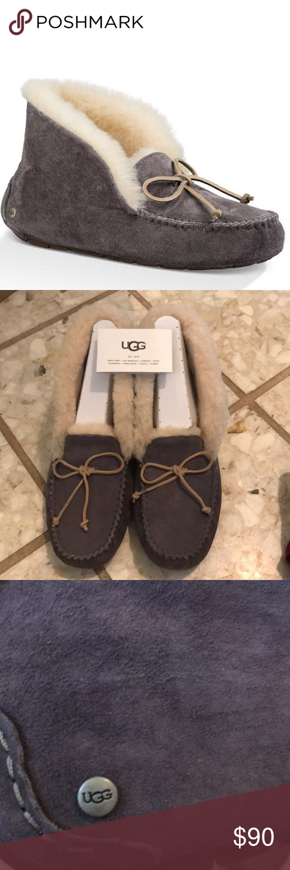 6865016e62eb NEW in box UGG Alena Waterproof Suede Slippers UGG® Alena Bow Detail  Waterproof Suede Slippers. Can be worn as high top or folded over.