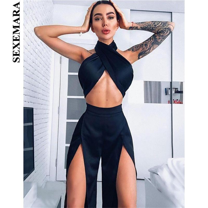 28433a6c2666 SEXEMARA Satin Silk Sexy 2 Piece Black Crop Top Split Wide Leg Pants Set  Club Outfit