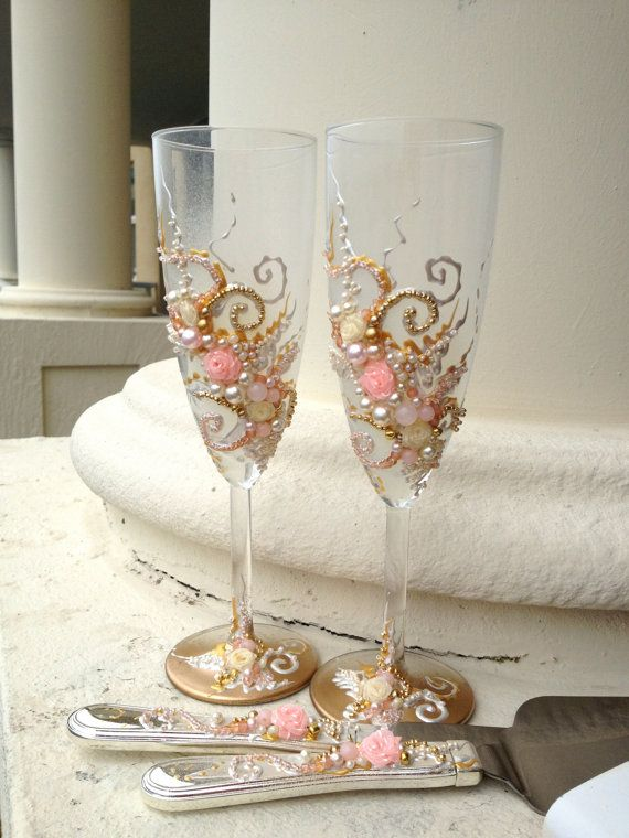 Beautiful Wedding Champagne Glasses And Cake Set In Blush