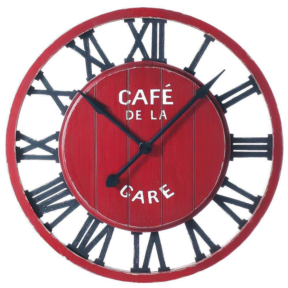 Cafe De La Gare Clock Horloge Murale Rouge Horloge Murale Horloge