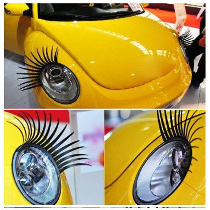 A Pair Cool Fashion Car Eyelashes Pvc Logo Stickers Lashes Decal