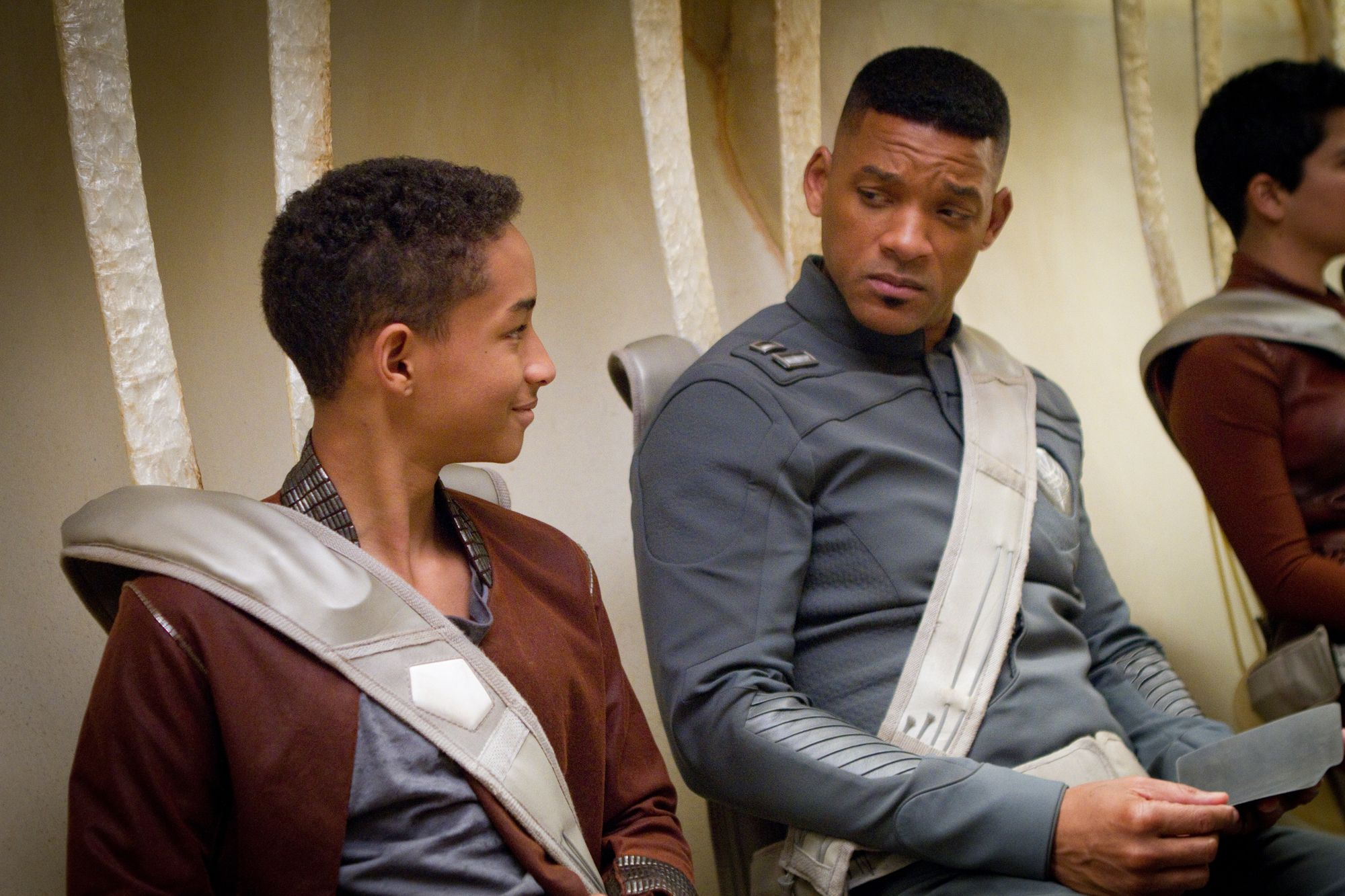 """""""After Earth"""" movie still, 2013.  L to R: Jaden Smith, Will Smith."""