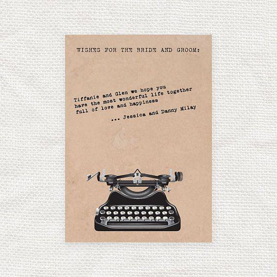 vintage typewriter guest book cards - printable file - wedding guest book alternative