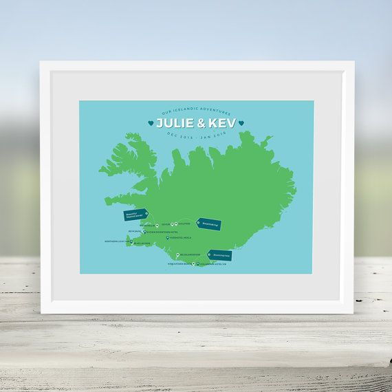 Personalised iceland map custom world travel map print places we our personalised world travel maps are perfect for anniversary or wedding gifts a gift to gumiabroncs Choice Image