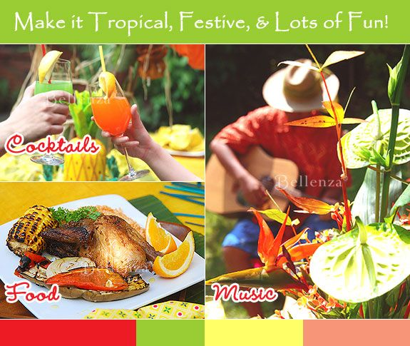 Jamaican theme decorations, food & drinks ideas for a summer wedding