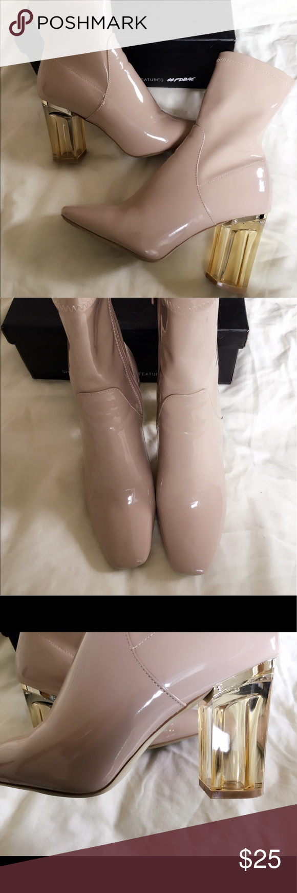 Public Desire Perspex heeled ankle boots in nude. In great condition. Public Desire Shoes Ankle Boots & Booties
