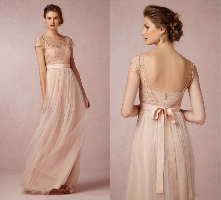 Vintage A-Line Long Bridesmaid Dresses 2015 Lace Scoop Cap Sleeve ...
