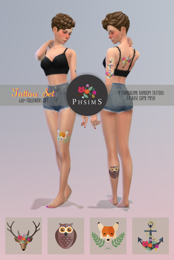 600+   FOLLOWERS GIFT!!!!Thank you, guys ♥TATTOO SET :)4 cute random tattoos.EA mesh recolored by me with Sims4Studio.Hope you like!DOWNLOAD