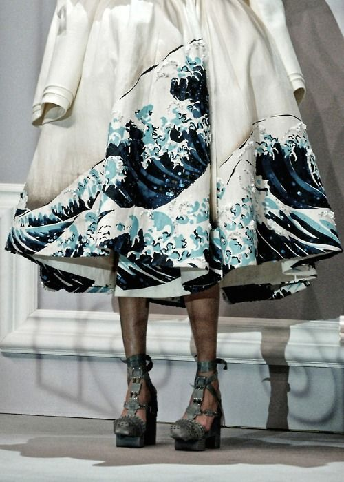 "Dior couture spring 2007 coat based on the famous ""Wave"" painting by Katsushika Hokusai"