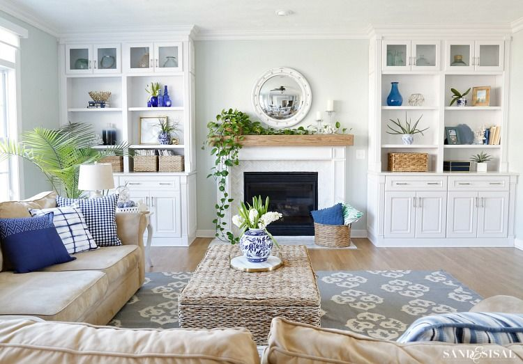Blue And White Spring Living Room Tour Family Friendly Living
