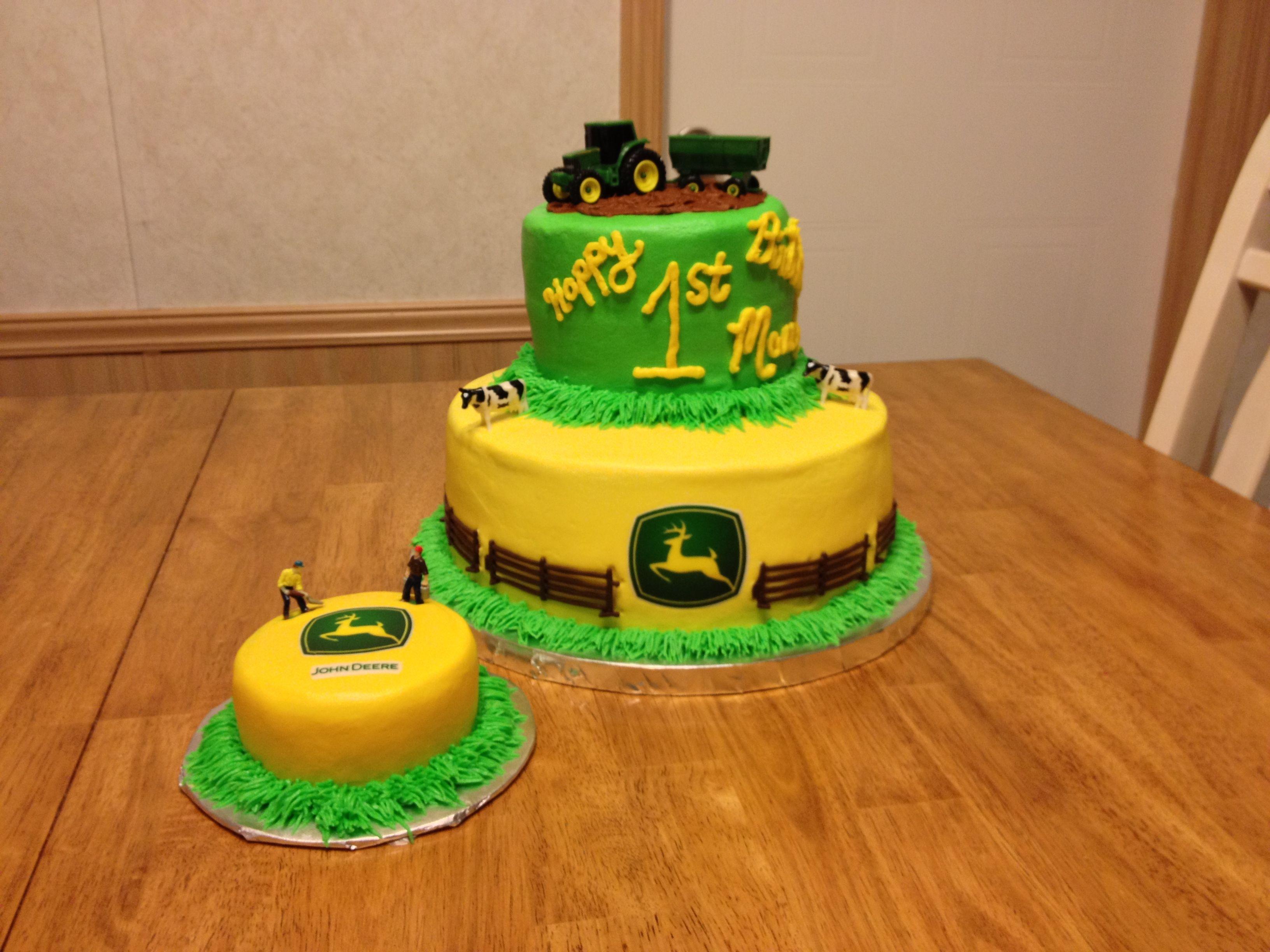 John Deere First birthday cake and smash cake My Cake Designs