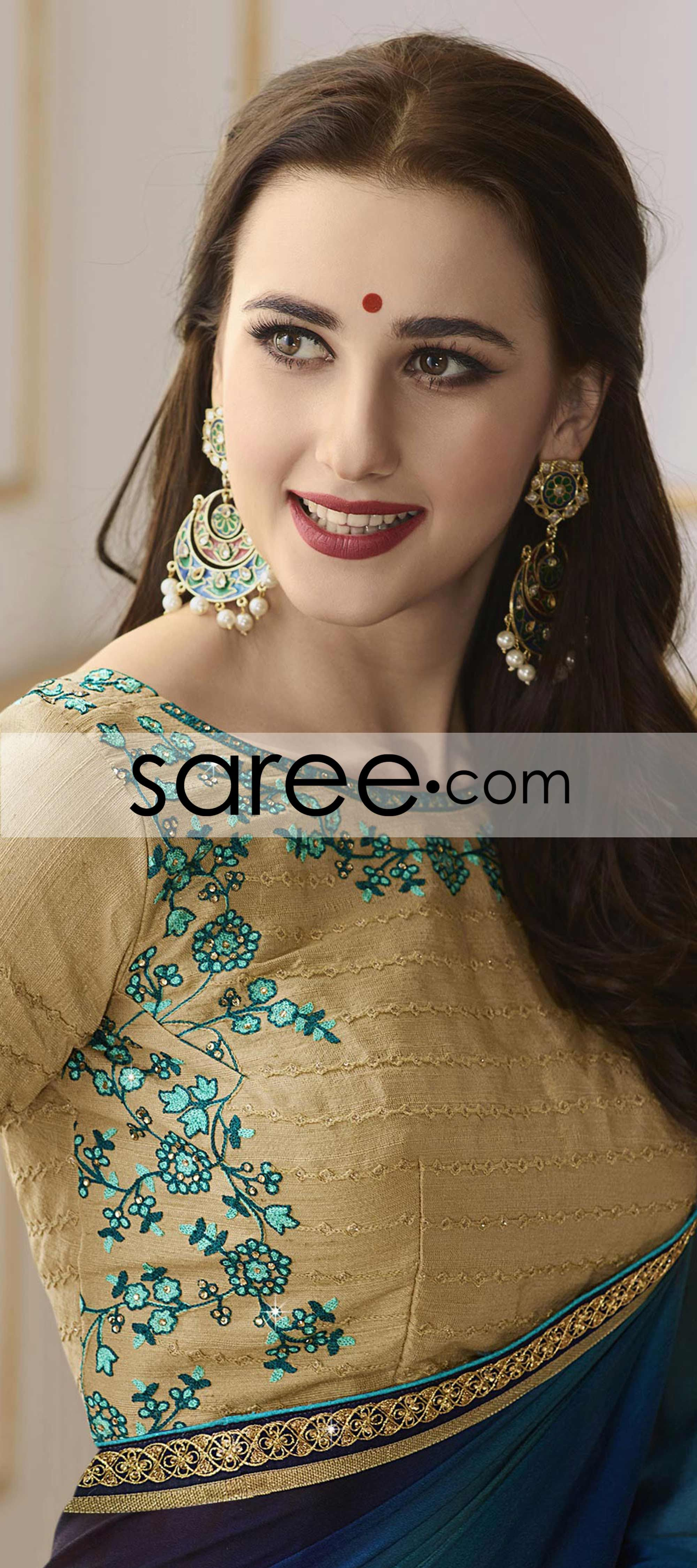 Blue Georgette Saree With Lace Georgette Sarees Women Tops Online Black Shirts Women