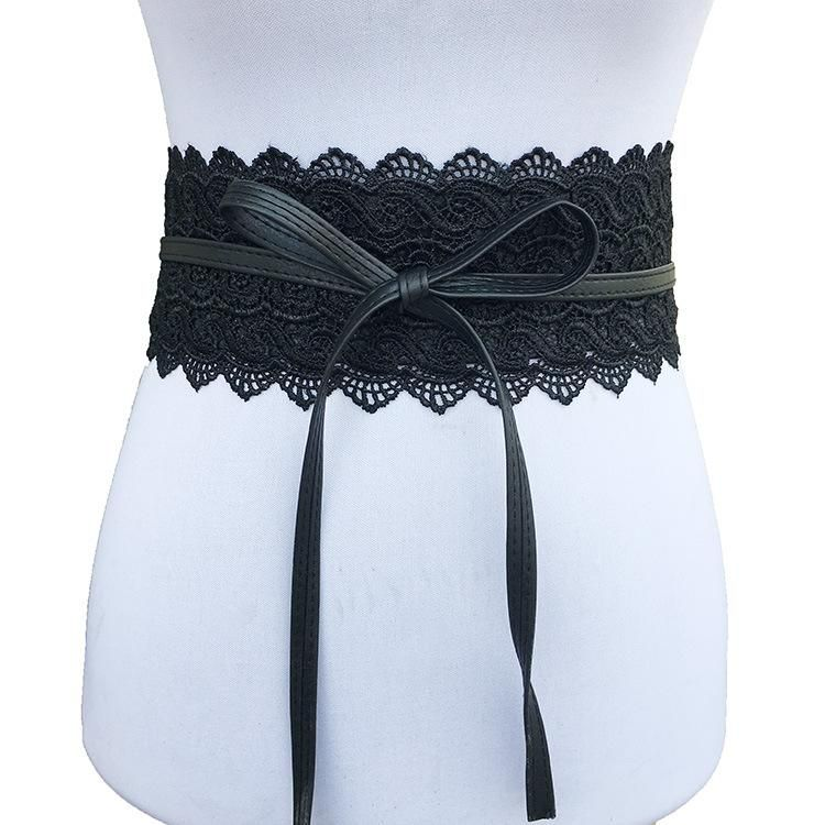 Hot Women Leather Belt Wrap Waistband PU Self Tie Bowknot Around Sash Wide Band
