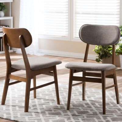 Baxton Studio Sacramento Side Chairs In Walnut Grey Set Of 2 Mid Century Dining Chairs Solid Wood Dining Chairs Faux Leather Dining Chairs