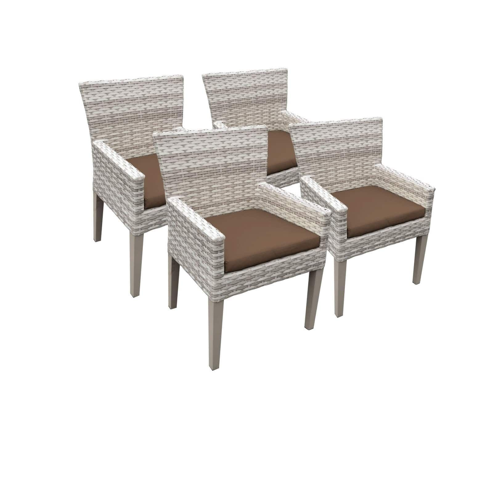 Catamaran Outdoor Patio Wicker Dining Chairs with Arms and Seat