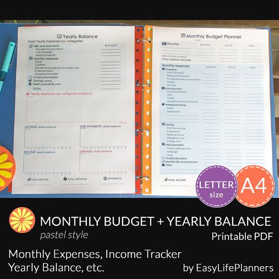 Monthly Budget Planner Printable Letter Size Yearly Expenses Income - Download Budget Spreadsheet