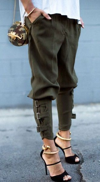 Olive Harem Pants & Wrap Around Snake Bangles ❤ Cool and chic and ...